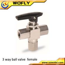China fabricante personalizado feito NPT fêmea aço inoxidável 316/304 válvula de esfera de 3 vias