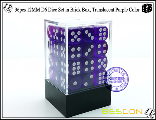36pcs 12MM D6 Dice Set in Brick Box, Translucent Purple Color-1