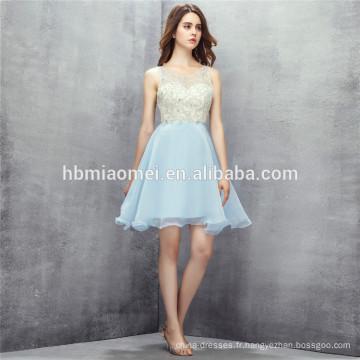2017 vente chaude couleur bleu clair demoiselle d'honneur robes courtes robes de demoiselle d'honneur de conception backless sequins pour les filles