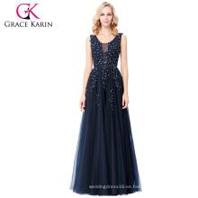 Grace Karin Elegante Deep V-Back Soft Tulle Netting sin mangas de color azul marino largo vestido de noche 8 Tamaño EE.UU. 2 ~ 16 GK000130-1