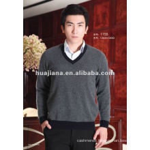 fashion style V neck cashmere sweater for men