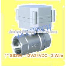 Válvula de bola motorizada DC12/24V control válvula eléctrica de SS304 BSP/NPT hilo de rosca para filtro de agua de la válvula de control de 2 vías de 1'' 3Wires