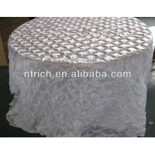 Fashion pinch wheel taffeta table cloth for wedding/banquet