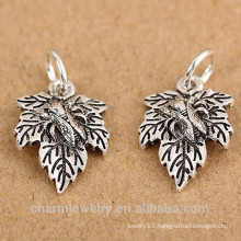 SEF101 925 sterling silver jewelry accessories Thai silver small leaves leaf pendant bracelet diy materials accessori