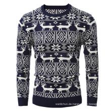 Weihnachtsmuster Rentier Pullover Männer Jacquard-Pullover
