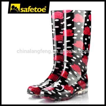 Botas de lluvia de moda de las señoras de plástico W-6040D