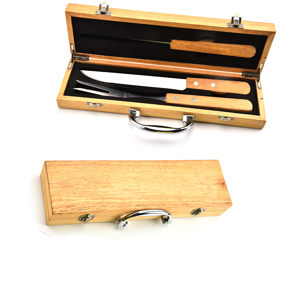3PCS BBQ Tools Set With Wooden Box