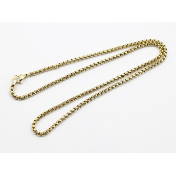Fashion Gold Plated Stainless Steel Sq Pearl Chain