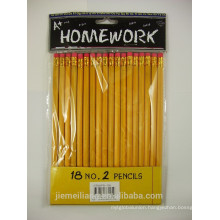 JML NO.2 Yellow Wooden Pencil with Eraser Top Quality HB Pencil