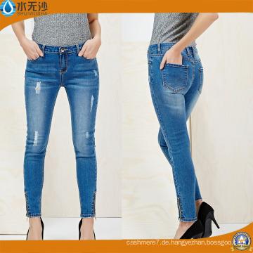 Großhandelsfabrik-Jeans-hohe Taillen-Baumwollgewebe-Frauen-dünne Denim-Jeans