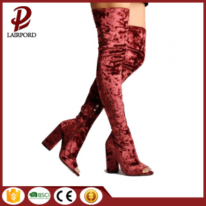 peep toe suede red over-knee ladies boots