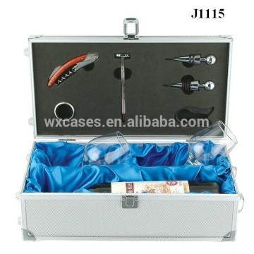 Подарочные коробки алюминиевые для бокалов и бутылка высокого качества