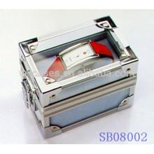 caixas de relógio de alumínio popular para único relógio com uma tampa de acrílico transparente