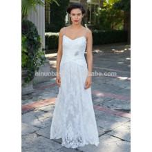 NA1028 Livraison gratuite A-line V-neck perlée spaghetti bretelles robe de mariée en dentelle