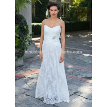 NA1028 Free Shipping A-line V-neck Beaded Spaghetti Straps Lace Wedding Dress