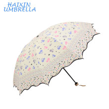 Gift Items Compact Bright Colored Wholesale Fashion Nice Printing Foldable Girl's Funny Chinese Sun Umbrella Factory China