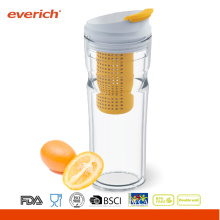 Everich Double Wall Mesh Water Bottle With Flip Lid And Fruit Mesh