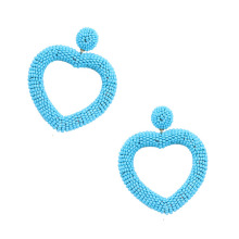 6 color Statement Beaded Heart Hoop Earrings Fashion Bohemian Handmade Woven Glass Seed Whimsical Drop Earring Stud Jewelry Idea