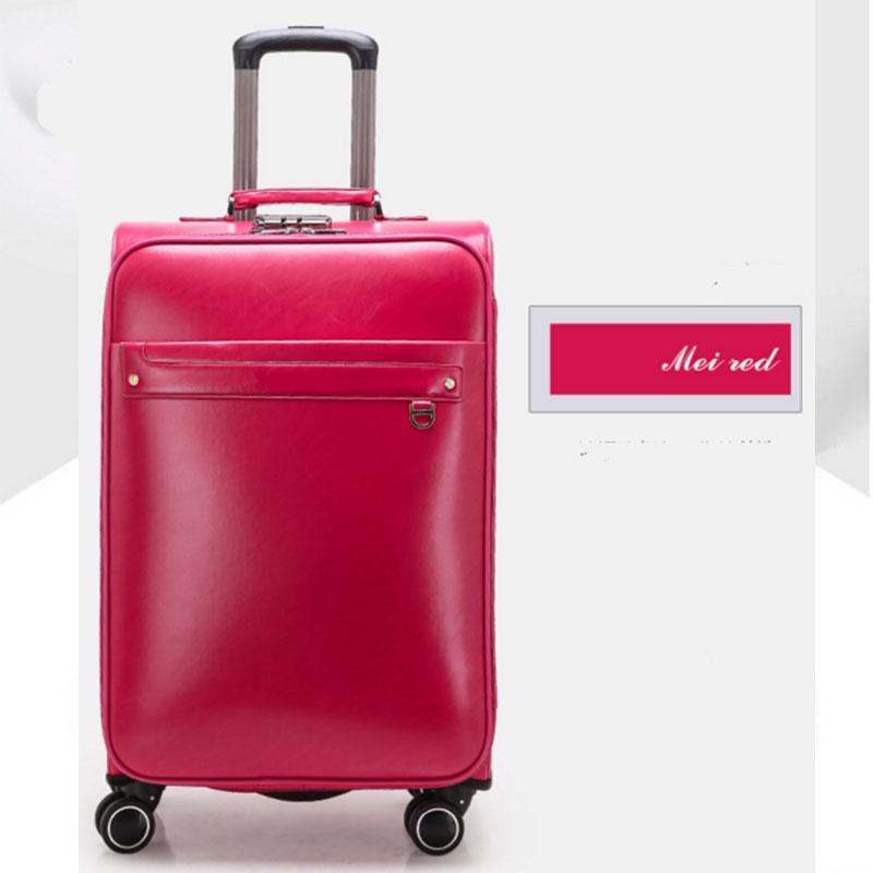 Mei red pu luggage