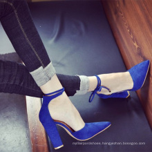 GuangDong footwear high quality high block heel sexy women ankle pump shoes