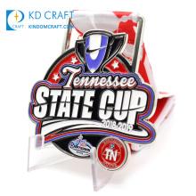 Cheap custom design metal zinc alloy embossed logo enamel award sport club soccer football medal