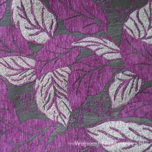 Jacquard Leaf Chenille 100% polyester pour le sofa à la maison