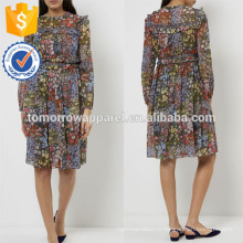 Новая мода Цветочный печати рюшами платье Производство Оптовая продажа женской одежды (TA5258D)