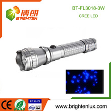 Factory Logo Printed 1*18650 Battery Operated Handheld Aluminum 3w high power rechargeable uv led flashlight