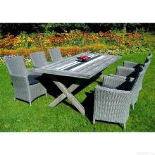 Sala de jantar de vime jardim conjunto mobília de vime ao ar livre do pátio