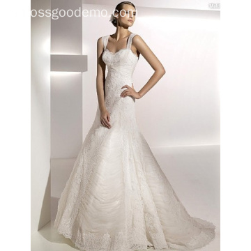 Elegante Trompete Sereia Querida Correias Sweep Brush Train Lace Tulle Vestido De Noiva