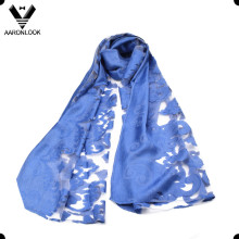 Lady Elegant Jacquard Transparent Viscose Lace Flower Scarf