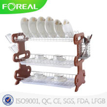 22 Inch 3-Tiers Wooden Dish Drainer with Plastic Tray