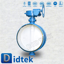 Didtek Butt Welded End WCB One Piece Shaft Worm Gear Operate Butterfly Valve