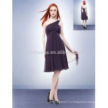 Фиолетовый Империи 2014 невесты платье одно плечо длиной до колен Крис-Кросс складки молния шифон Короткая Пром платье с NB0715 ленты