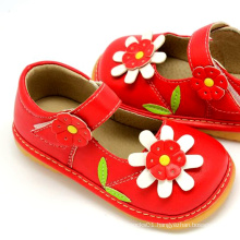 Red Sunflower Baby Squeaky Shoes Girl