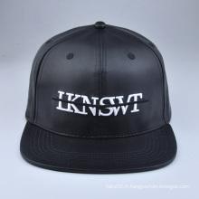 Chapeaux blancs en cuir noir snapback personnalisés