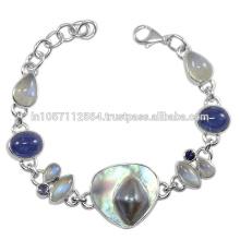 Lovely Blister Pearl Iolite Labradorit Regenbogen Moonstone Edelstein & 925 Sterling Silber Armband