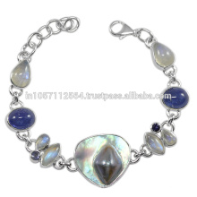 Lovely Blister Pearl Iolite Labradorite Rainbow Moonstone Gemstone & Bracelet en argent sterling 925