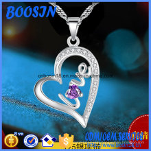 Silver Engraved Love Heart Pendant Necklace