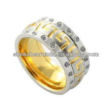 Nuevo anillo de la llegada, alto anillo pulido del acero inoxidable con dos lazo cristal, anillo cristalino