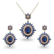 Conjuntos de la joyería del zircon del cobre del oro de la venta 18k de Wuzhou Foxi