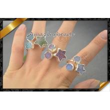 Druzy, Druzy Quartz Rings Star Shape Drusy Rings Can Adjustable (FR006)
