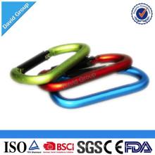Kundengebundener Logo-Druckaluminiumsicherheits-D-Art Druckfeder-Karabiner-Verbindungs-Haken