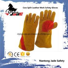 Brown Cowhide Split Leather Industrial Hand Safety soldagem luva de trabalho
