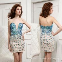 2014 изысканный короткое платье с сильно Изукрашенный декольте выше колен застежка-молния шифон homecoming оболочка NB0909