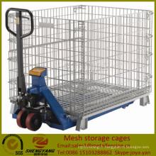 Fournisseur galvanisé atelier de transport conteneurs capacité de chargement 250-2500 kg Gitterboxes chariot élévateur disponible maille stockage cages