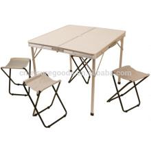 Table de pique-nique de camping en aluminium avec 4 sièges