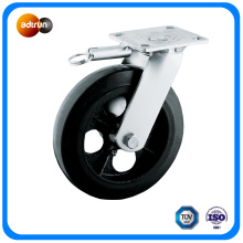 Roulettes industrielles Roue en acier caoutchouc de 8 po avec frein