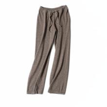 Pantalon à jambes larges en cachemire pur avec taille haute et pantalon décontracté