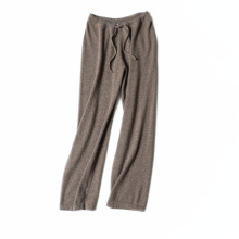 Pure cashmere knitted broad-legged trousers with a high-waisted waist and casual pants